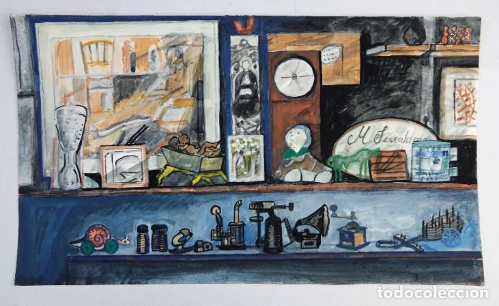 Arte: Isabel Serrahima (1934-1999) Acuarela y goauche sobre papel Estanterías con objeto - Foto 2 - 209799006