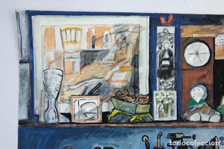 Arte: Isabel Serrahima (1934-1999) Acuarela y goauche sobre papel Estanterías con objeto - Foto 3 - 209799006
