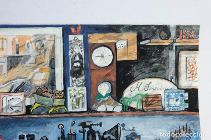 Arte: Isabel Serrahima (1934-1999) Acuarela y goauche sobre papel Estanterías con objeto - Foto 4 - 209799006