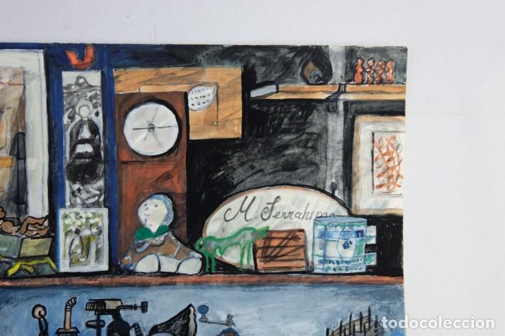 Arte: Isabel Serrahima (1934-1999) Acuarela y goauche sobre papel Estanterías con objeto - Foto 5 - 209799006