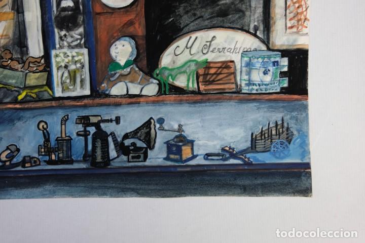 Arte: Isabel Serrahima (1934-1999) Acuarela y goauche sobre papel Estanterías con objeto - Foto 6 - 209799006