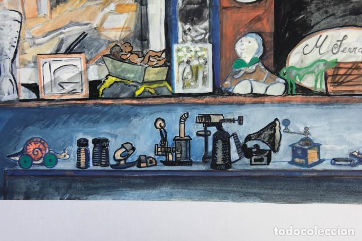 Arte: Isabel Serrahima (1934-1999) Acuarela y goauche sobre papel Estanterías con objeto - Foto 7 - 209799006