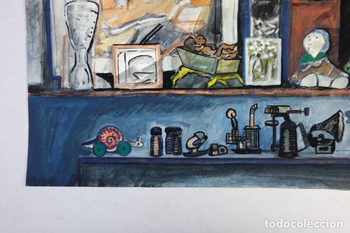 Arte: Isabel Serrahima (1934-1999) Acuarela y goauche sobre papel Estanterías con objeto - Foto 8 - 209799006