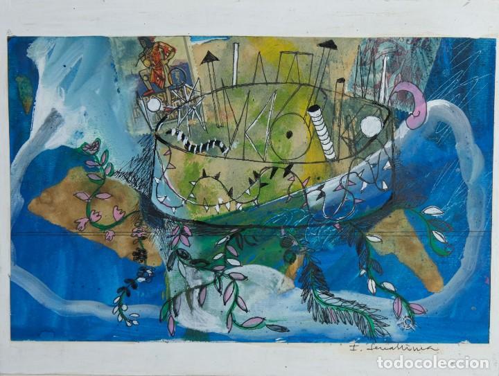 ISABEL SERRAHIMA (1934-1999) TÉCNICA MIXTA SOBRE PAPEL COMPOSICIÓN SURREALISTA FIRMADA (Arte - Acuarelas - Contemporáneas siglo XX)
