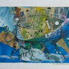 Arte: ISABEL SERRAHIMA (1934-1999) TÉCNICA MIXTA SOBRE PAPEL COMPOSICIÓN SURREALISTA FIRMADA. Lote 209799158