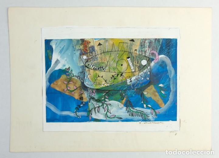 Arte: Isabel Serrahima (1934-1999) técnica mixta sobre papel Composición surrealista Firmada - Foto 2 - 209799158