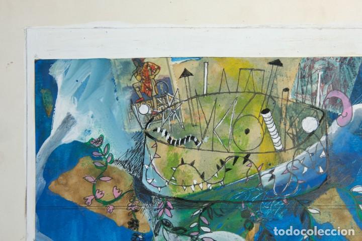 Arte: Isabel Serrahima (1934-1999) técnica mixta sobre papel Composición surrealista Firmada - Foto 3 - 209799158