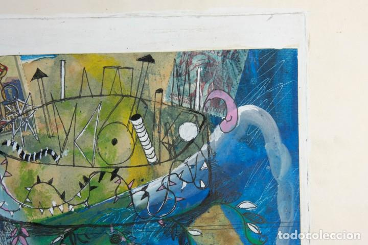 Arte: Isabel Serrahima (1934-1999) técnica mixta sobre papel Composición surrealista Firmada - Foto 4 - 209799158