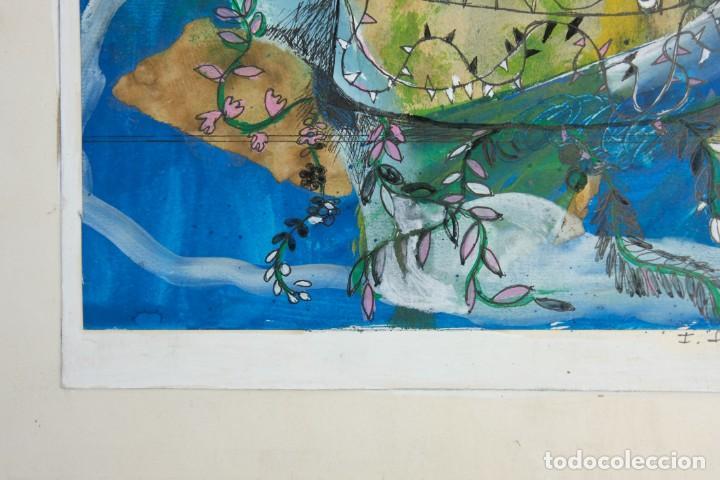 Arte: Isabel Serrahima (1934-1999) técnica mixta sobre papel Composición surrealista Firmada - Foto 5 - 209799158