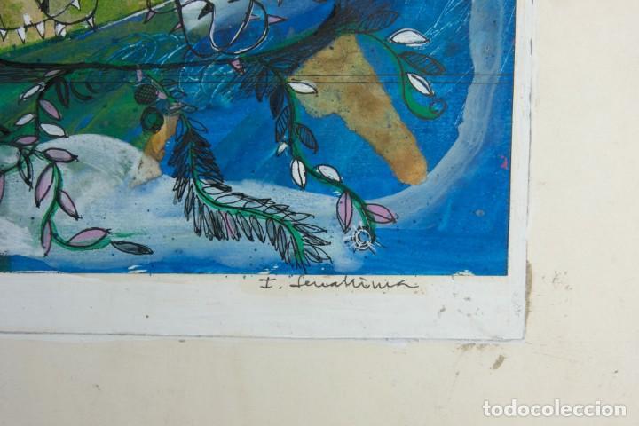 Arte: Isabel Serrahima (1934-1999) técnica mixta sobre papel Composición surrealista Firmada - Foto 6 - 209799158