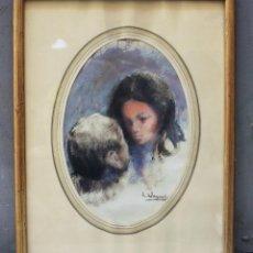 Arte: LLUÍS VAYREDA, NIÑO Y NIÑA, ACUARELA, FIRMADA, CON MARCO. 32X21,5CM. Lote 209914602