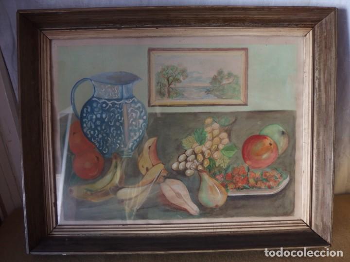 CUADRO BODEGÓN ACUARELA ORIGINAL (Arte - Acuarelas - Contemporáneas siglo XX)
