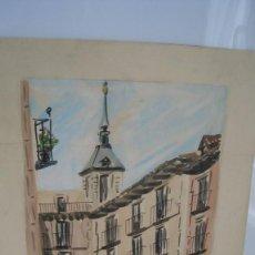 Arte: ANTIGUA ACUARELA CALLE TOLEDO MADRID DEL PINTOR JUAN MARTÍN HIDALGO 42 X 28 CMTS.. Lote 210024327
