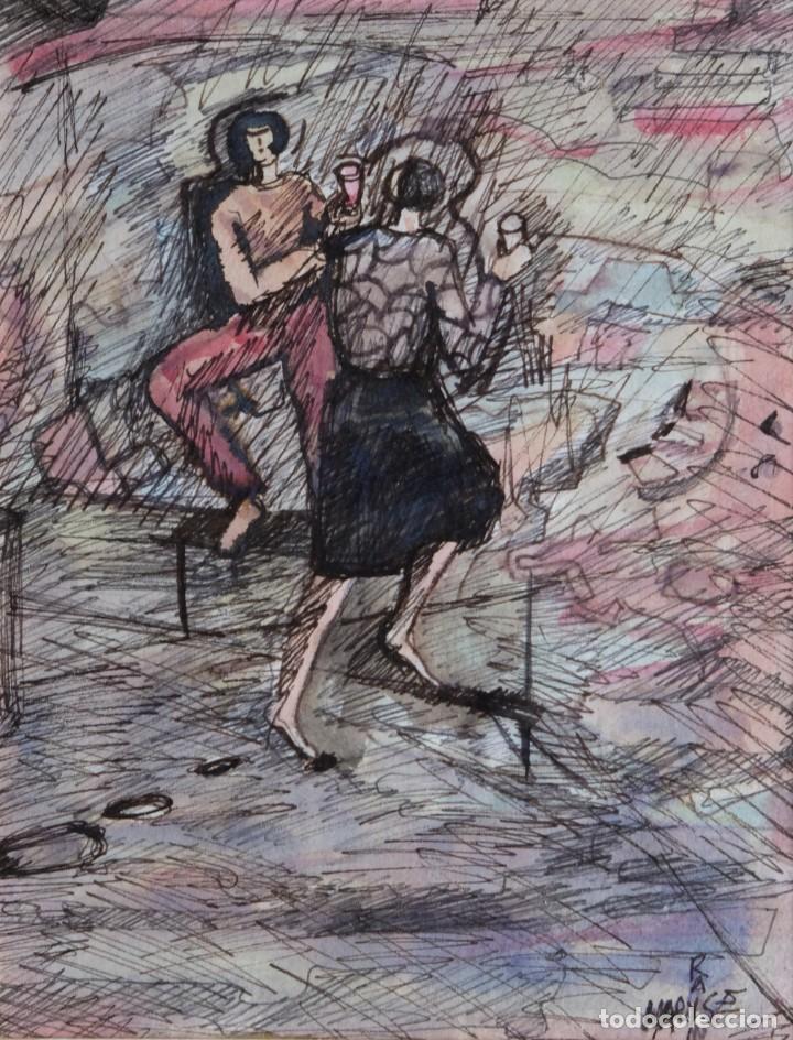 MARYSE RAIN (BÉLGICA, 1957) ACUARELA Y TINTA SOBRE PAPEL MUJERES CON COPAS FIRMADO (Arte - Acuarelas - Contemporáneas siglo XX)