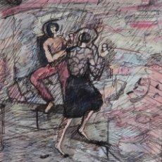 Arte: MARYSE RAIN (BÉLGICA, 1957) ACUARELA Y TINTA SOBRE PAPEL MUJERES CON COPAS FIRMADO. Lote 210145192