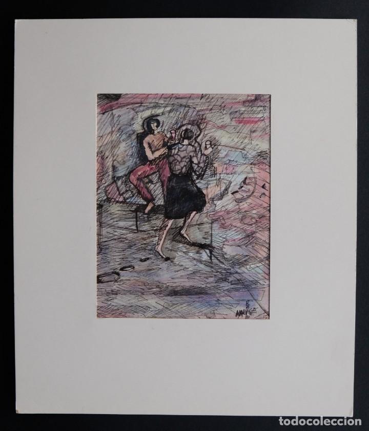 Arte: Maryse Rain (Bélgica, 1957) Acuarela y tinta sobre papel Mujeres con copas firmado - Foto 2 - 210145192