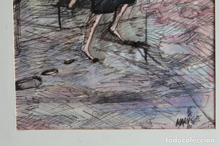 Arte: Maryse Rain (Bélgica, 1957) Acuarela y tinta sobre papel Mujeres con copas firmado - Foto 5 - 210145192