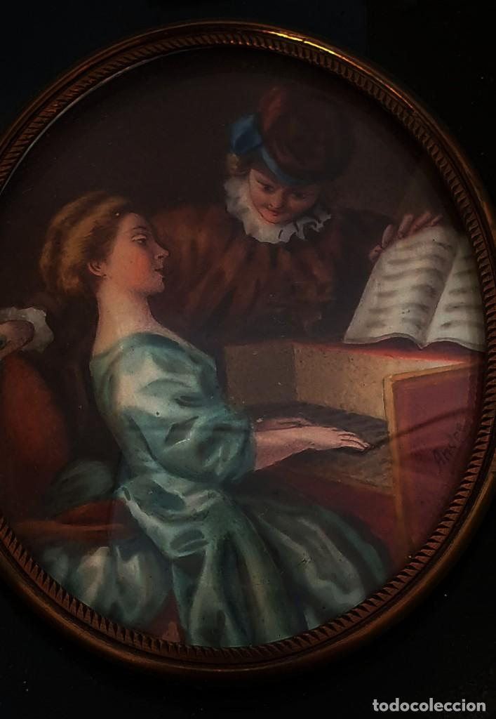 Arte: MINIATURA PINTADA - CLASE DE PIANO - SG XIX - FIRMADA. - Foto 2 - 210155741