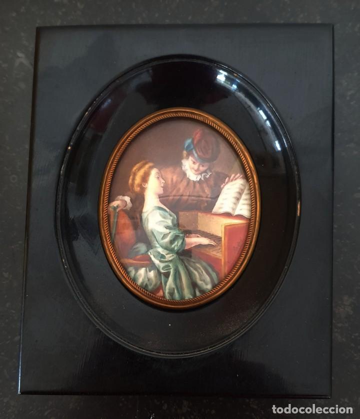 MINIATURA PINTADA - CLASE DE PIANO - SG XIX - FIRMADA. (Arte - Acuarelas - Modernas siglo XIX)