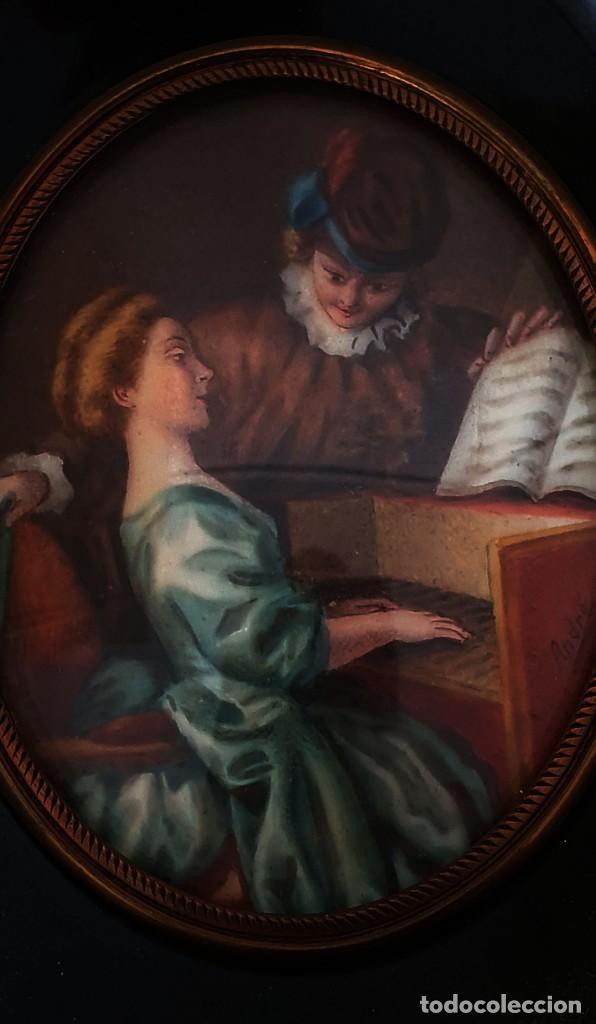 Arte: MINIATURA PINTADA - CLASE DE PIANO - SG XIX - FIRMADA. - Foto 3 - 210155741