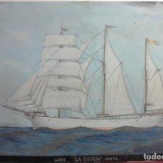 Arte: ACUARELA VELERO LA VIGUESA 1.000 TM, LUGRE, PINTADO POR ACUARELISTA VALENCIANO F RAMS, VALENCIA 1910. Lote 210177208