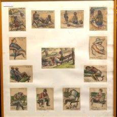 Arte: RAMÓN RIBAS RIUS (1903-1983). 13 APUNTES. ENMARCADO. PASTEL SOBRE PAPEL. Lote 210196581