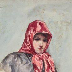 Arte: RETRATO DE JOVEN. ACUARELA SOBRE PAPEL. FIRMADO JULIAN DEL POZO. 1930.. Lote 210560432