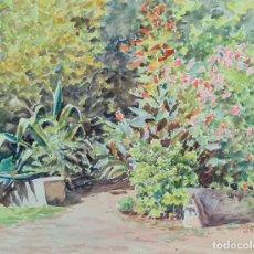 Arte: JARDIN DE FLORES. ACUARELA SOBRE PAPEL. JULIAN DEL POZO Y LA ORDEN. 1931.. Lote 210649030