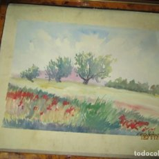 Arte: PAISAJE CON ARBOLEDA Y FLORES ANTIGUA PINTURA XAVIER SOLER ALICANTE AÑOS 50. Lote 210655405