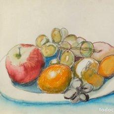 Arte: VICENTE OLIVER ACUARELA SOBRE PAPEL BODEGON FRUTAS FIRMADO Y FECHADO 1968. Lote 210692004