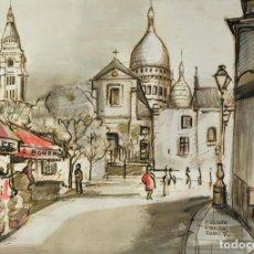 Arte: ACUARELA Y TINTA SOBRE PAPEL VISTA CALLE PARIS FIRMADO P.OLIVER RIBALTA 1970. Lote 210694755