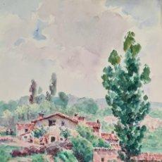 Arte: PAISAJE RURAL. ACUARELA SOBRE PAPEL. JULIAN DEL POZO Y LA ORDEN. 1930.. Lote 210807336