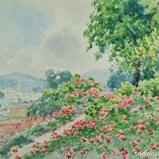 Arte: VISTAS DE TIANA. ACUARELA SOBRE PAPEL. JULIAN DEL POZO Y LA ORDEN. 1931.. Lote 210807819