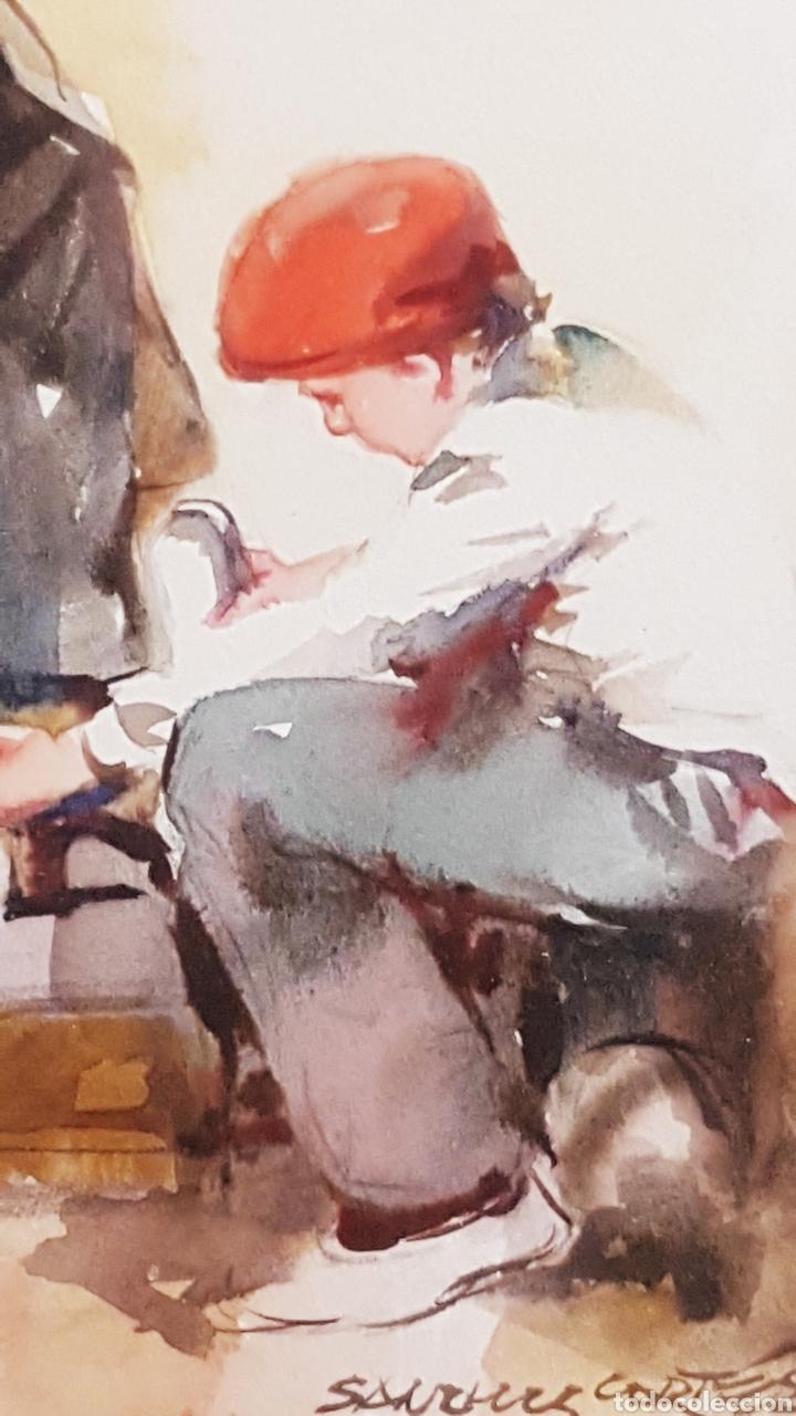 Arte: ALFREDO SANCHIS CORTÉS ( VALENCIA 1932-2014) LIMPIABOTAS , ACUARELA 245 x 185 - Foto 2 - 211443239