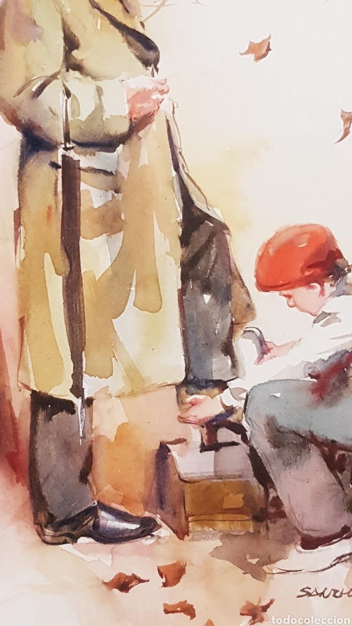 Arte: ALFREDO SANCHIS CORTÉS ( VALENCIA 1932-2014) LIMPIABOTAS , ACUARELA 245 x 185 - Foto 6 - 211443239