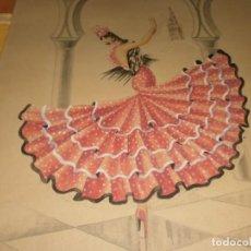 Arte: DIBUJO LÁPIZ ACUARELA SEVILLANA MUJER CON TRAJE VOLANTES CARTULINA AÑO 1942 FIRMADO 52X38 CM.. Lote 212004583