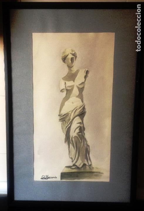 VENUS DE MILO- ACUARELA ENMARCADA- ESTUDIO DEL PINTOR- (Arte - Acuarelas - Contemporáneas siglo XX)