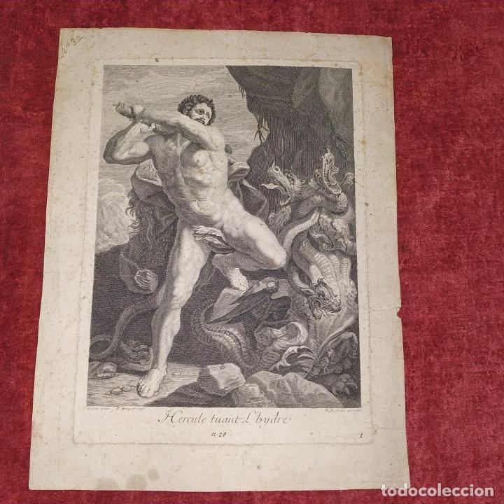 Arte: HERCULES MATANDO LA HIDRA. GRABADO SOBRE PAPEL. HECQUET. AUDRAN. FRANCIA. SIGLO XVIII - Foto 2 - 212701448