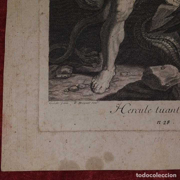 Arte: HERCULES MATANDO LA HIDRA. GRABADO SOBRE PAPEL. HECQUET. AUDRAN. FRANCIA. SIGLO XVIII - Foto 3 - 212701448