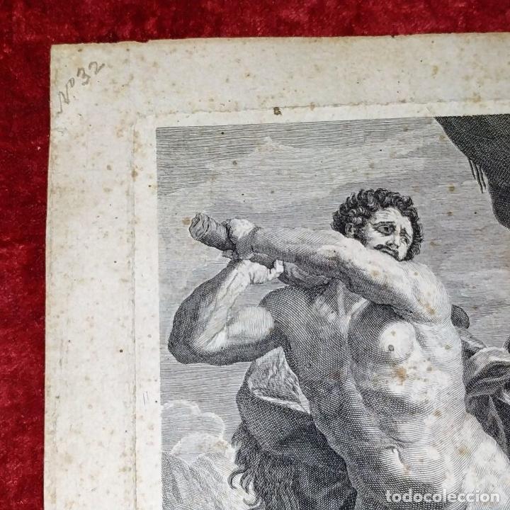 Arte: HERCULES MATANDO LA HIDRA. GRABADO SOBRE PAPEL. HECQUET. AUDRAN. FRANCIA. SIGLO XVIII - Foto 5 - 212701448