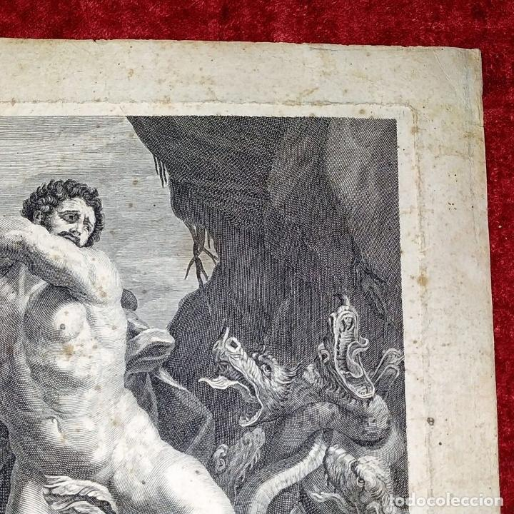 Arte: HERCULES MATANDO LA HIDRA. GRABADO SOBRE PAPEL. HECQUET. AUDRAN. FRANCIA. SIGLO XVIII - Foto 8 - 212701448