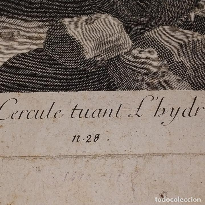 Arte: HERCULES MATANDO LA HIDRA. GRABADO SOBRE PAPEL. HECQUET. AUDRAN. FRANCIA. SIGLO XVIII - Foto 10 - 212701448