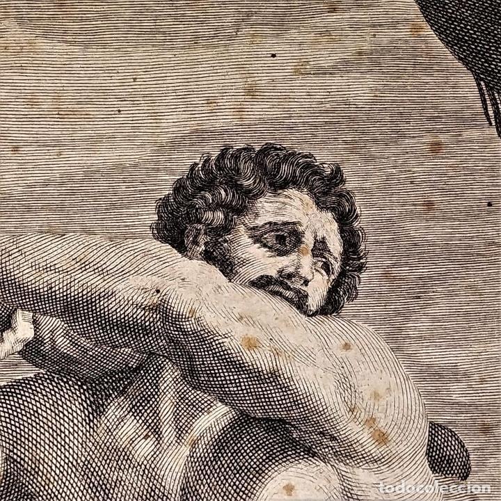 Arte: HERCULES MATANDO LA HIDRA. GRABADO SOBRE PAPEL. HECQUET. AUDRAN. FRANCIA. SIGLO XVIII - Foto 12 - 212701448
