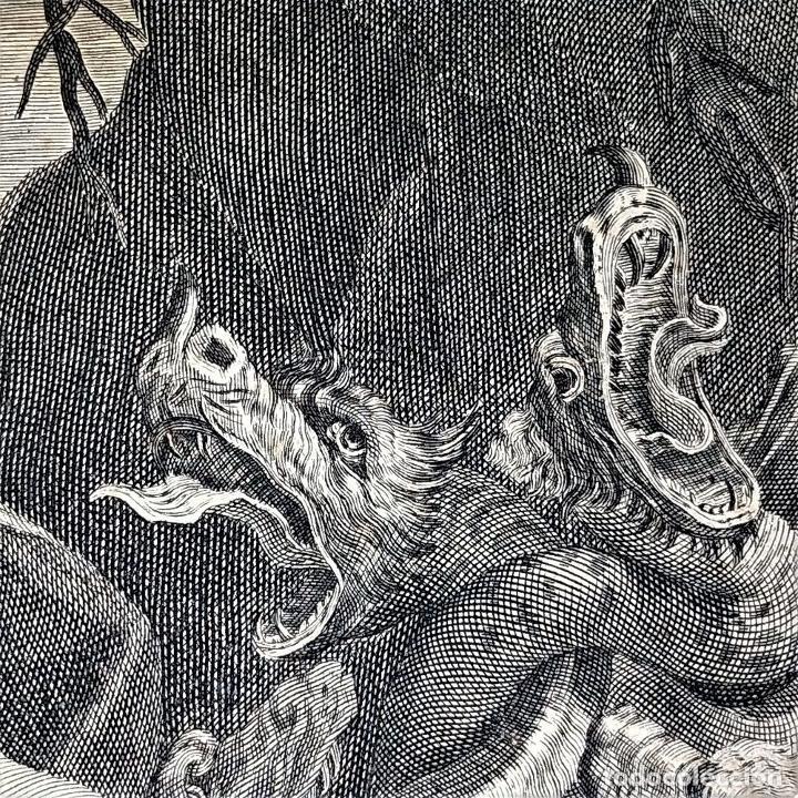 Arte: HERCULES MATANDO LA HIDRA. GRABADO SOBRE PAPEL. HECQUET. AUDRAN. FRANCIA. SIGLO XVIII - Foto 13 - 212701448
