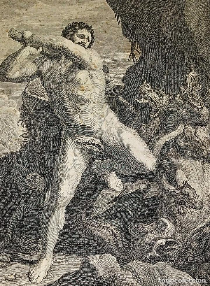 HERCULES MATANDO LA HIDRA. GRABADO SOBRE PAPEL. HECQUET. AUDRAN. FRANCIA. SIGLO XVIII (Arte - Acuarelas - Antiguas hasta el siglo XVIII)