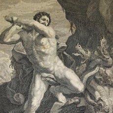 Arte: HERCULES MATANDO LA HIDRA. GRABADO SOBRE PAPEL. HECQUET. AUDRAN. FRANCIA. SIGLO XVIII. Lote 212701448