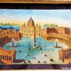 Art: ESCUELA ITALIANA S.XVIII,PLAZA DEL VATICANO ,PLUMILLA ,ACUARELA Y ESTARCIDO 26´5 X 40 MARCO ORIGINAL. Lote 212879576