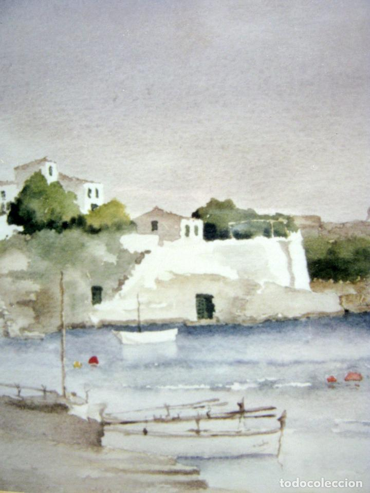 Arte: Bella acuarela original Baleares Menorca - enmarcada simil limoncillo - Foto 2 - 212954688