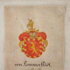 Arte: MARAVILLOSO ESCUDO DE ARMAS ORIGINAL DEL SIGLO XVIII EN ACUARELA SOBRE PAPEL VERJURADO, GRAN CALIDAD. Lote 213214672