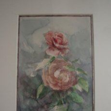 Arte: ROSAS. ACUARELA SOBRE PAPEL. ENMARCADA. PINTOR JOSÉ CLAROS. MURCIA. AÑO 1991.. Lote 213751073